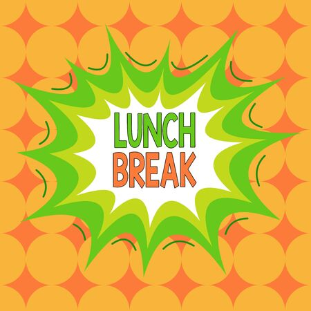Word writing text Lunch Break. Business photo showcasing time when a demonstrating stops working or studying to have lunch Asymmetrical uneven shaped format pattern object outline multicolour design