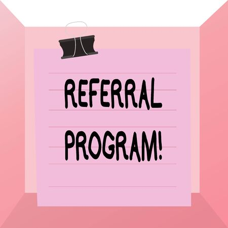 Conceptual hand writing showing Referral Program. Concept meaning employees are rewarded for introducing suitable recruits Paper lines binder clip suare notebook color background