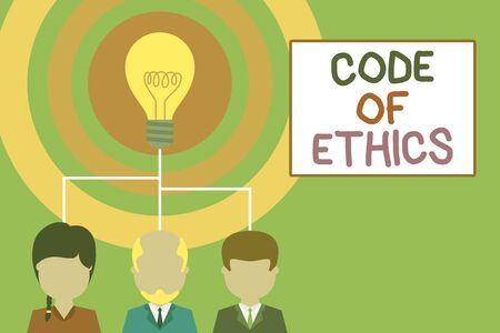 Conceptual hand writing showing Code Of Ethics. Concept meaning basic guide for professional conduct and imposes duties Three executive persons sharing idea Startup team meeting