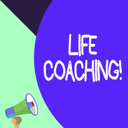 Word writing text Life Coaching. Business photo showcasing demonstrating employed to help showing attain their goals in career Half part blank huge balloon empty text with small megaphone. Announcement