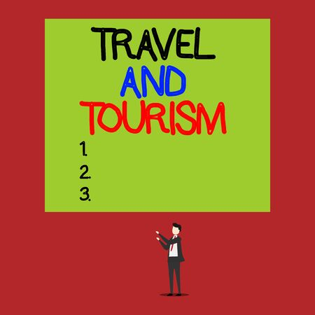 Handwriting text Travel And Tourism. Conceptual photo Temporary Movement of People to Destinations or Locations Isolated view young man standing pointing upwards two hands big rectangle
