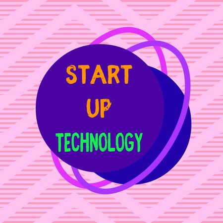 Handwriting text Start Up Technology. Conceptual photo Young Technical Company initially Funded or Financed Asymmetrical uneven shaped format pattern object outline multicolour design