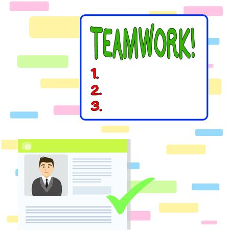 Writing note showing Teamwork. Business concept for combined action of group especially when effective and efficient Curriculum Vitae Resume of Candidate Marked by Color Mark Reklamní fotografie