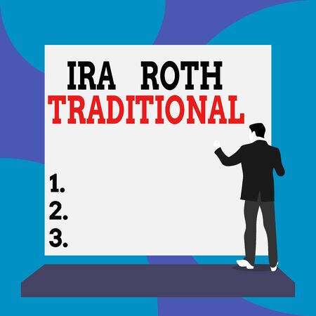 Conceptual hand writing showing Ira Roth Traditional. Concept meaning are tax deductible on both state and federal Back view Man dressed standing platform facing blank rectangle Stock Photo