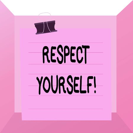Conceptual hand writing showing Respect Yourself. Concept meaning believing that you good and worthy being treated well Paper lines binder clip suare notebook color background