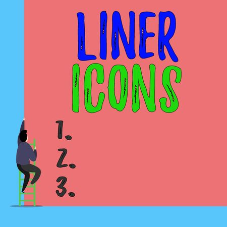 Handwriting text Liner Icons. Conceptual photo use to improve visual interest and grab the user s is attention Back view young man climbing up staircase ladder lying big blank rectangle