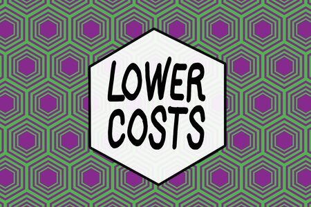 Word writing text Lower Costs. Business photo showcasing the business sets low price to enhance theproduct deanalysisd Repeating geometrical rhombus pattern. Seamless abstract design. Wallpaper Stockfoto