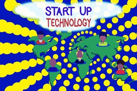 Word writing text Start Up Technology. Business photo showcasing Young Technical Company initially Funded or Financed Connection multiethnic persons all over world. Global business earth map 스톡 콘텐츠