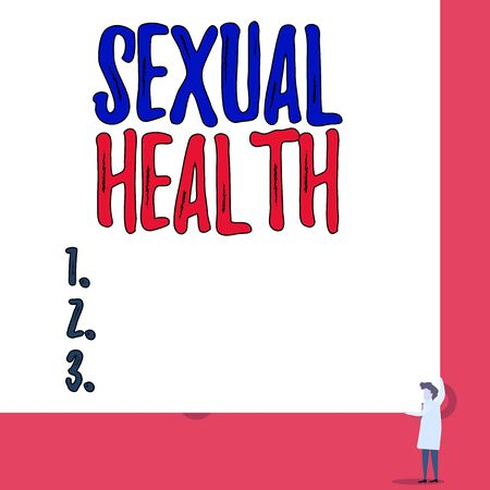 Text sign showing Sexual Health. Business photo showcasing positive and respectful approach to sexual relationships One man professor wear white coat red tie hold big board use two hands Stock Photo