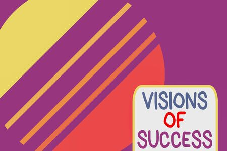 Conceptual hand writing showing Visions Of Success. Concept meaning Clear End Result of Purpose Goal Perspective Plan Cosmic planet pattern design paper cut Circle Background