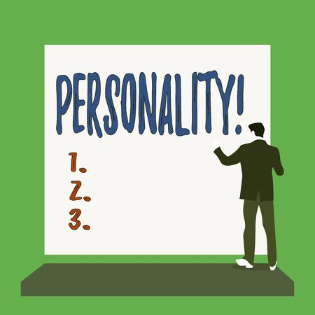 Handwriting text Personality. Conceptual photo combination characteristics that form individuals character Short hair immature young man stand in front of rectangle big blank board