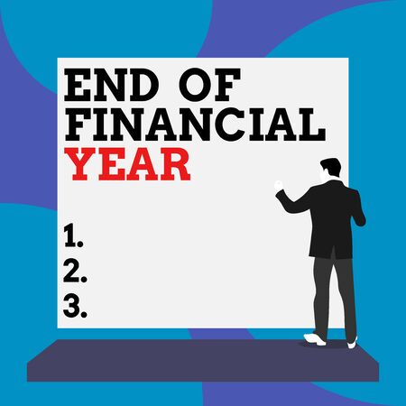 Conceptual hand writing showing End Of Financial Year. Concept meaning Revise and edit accounting sheets from previous year Back view Man dressed standing platform facing blank rectangle