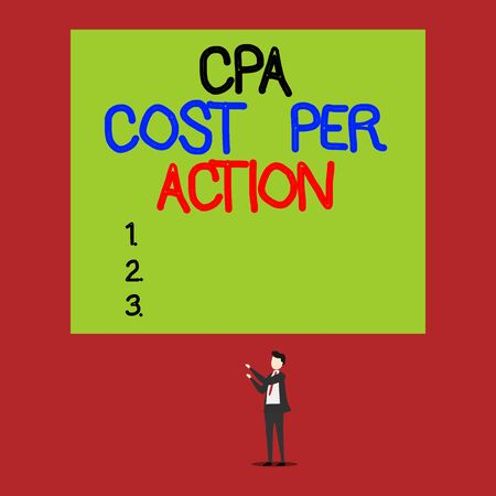 Handwriting text Cpa Cost Per Action. Conceptual photo Commission paid when user Clicks on an Affiliate Link Isolated view young man standing pointing upwards two hands big rectangle Banco de Imagens
