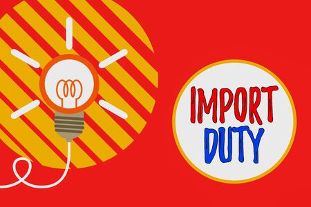 Text sign showing Import Duty. Business photo showcasing tax imposed by a government on goods from other countries Big idea light bulb. Successful turning idea invention innovation. Startup