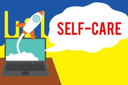 Word writing text Self Care. Business photo showcasing the practice of taking action to improve one s is own health Successful rocket launching clouds out laptop background. Startup growing