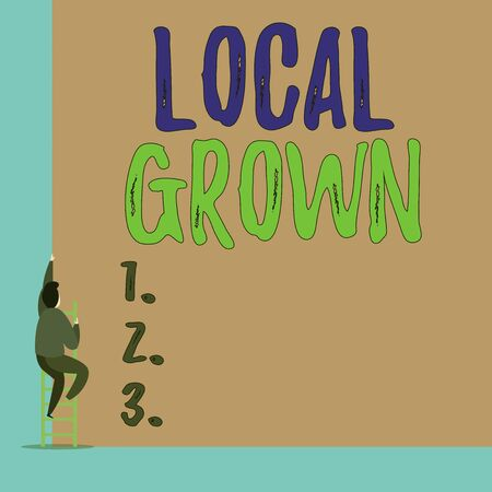 Handwriting text Local Grown. Conceptual photo agricultural products produced then sold within a certain area Back view young man climbing up staircase ladder lying big blank rectangle