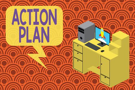 Writing note showing Action Plan. Business concept for detailed plan outlining actions needed to reach goals or vision Desktop station drawers personal computer launching rocket Standard-Bild