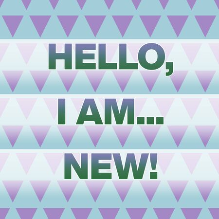 Text sign showing Hello I Am New. Business photo showcasing introducing oneself in a group as fresh worker or student Geometric Pattern Lilac Violet Upside Triangles Creative Blue Background Фото со стока