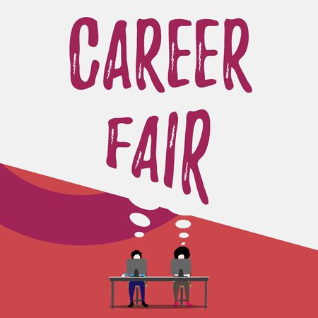Handwriting text writing Career Fair. Conceptual photo an event at which job seekers can meet possible employers Two men sitting behind desk each one laptop sharing blank thought bubble 版權商用圖片