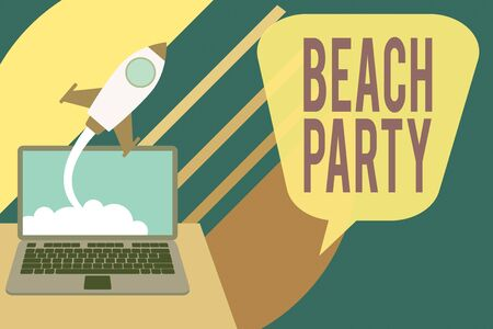 Word writing text Beach Party. Business photo showcasing large group of showing are organizing an event at the beach Successful rocket launching clouds out laptop background. Startup growing 版權商用圖片