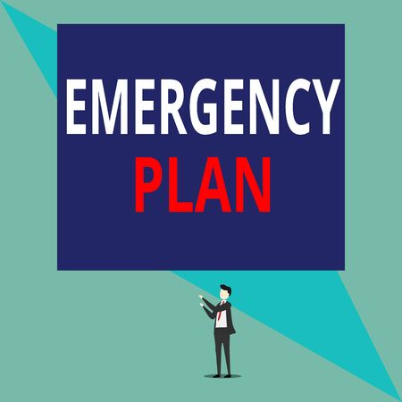 Writing note showing Emergency Plan. Business concept for procedures for handling sudden or unexpected situations Isolated view man standing pointing upwards two hands big rectangle