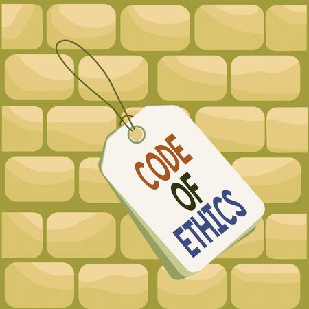 Handwriting text writing Code Of Ethics. Conceptual photo basic guide for professional conduct and imposes duties Label rectangle empty badge attached string colorful background tag small