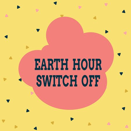 Handwriting text Earth Hour Switch Off. Conceptual photo The Lights Out Event Annual Movement Planet Day Multicolored Triangle Shape Confetti or Broken Glass Scattered Yellow Tone