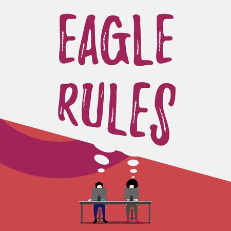 Handwriting text writing Eagle Rules. Conceptual photo a huge set of design rules which your layout needs to pass Two men sitting behind desk each one laptop sharing blank thought bubble 版權商用圖片