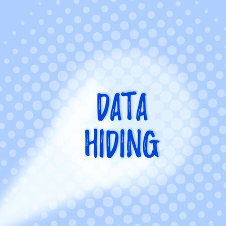 Text sign showing Data Hiding. Business photo text Secretly embedding data in graphics images and other file types Grey Tiny Circles Getting Smaller it Fades Centered Round Blank Rectangular