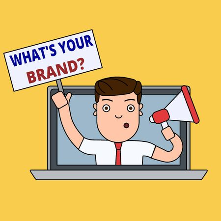 Writing note showing What S Your Brand Question. Business concept for asking about product logo does or what you communicate Man Speaking Through Laptop into Megaphone Plate with Handle