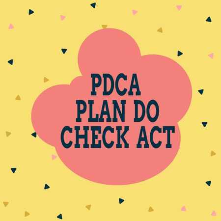 Handwriting text Pdca Plan Do Check Act. Conceptual photo Deming Wheel improved Process in Resolving Problems Multicolored Triangle Shape Confetti or Broken Glass Scattered Yellow Tone