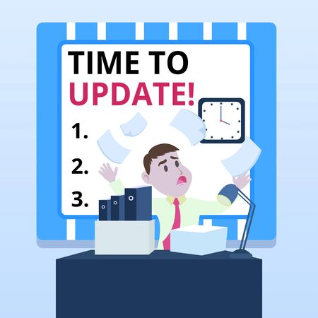 Word writing text Time To Update. Business photo showcasing act updating something someone or updated version program Confused Male Employee Manager Cluttered Workspace Overflow Time Shortage