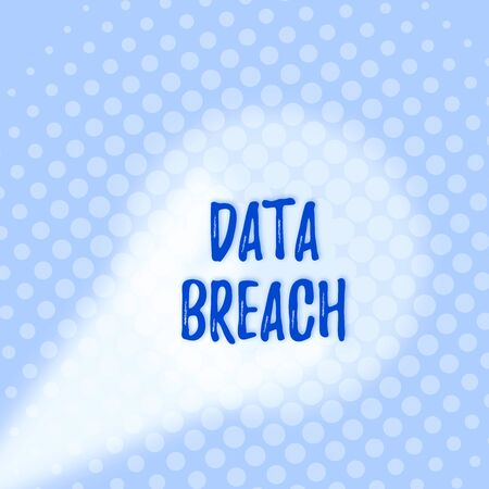Text sign showing Data Breach. Business photo text incident in which sensitive or confidential data is copied Grey Tiny Circles Getting Smaller it Fades Centered Round Blank Rectangular Stock Photo