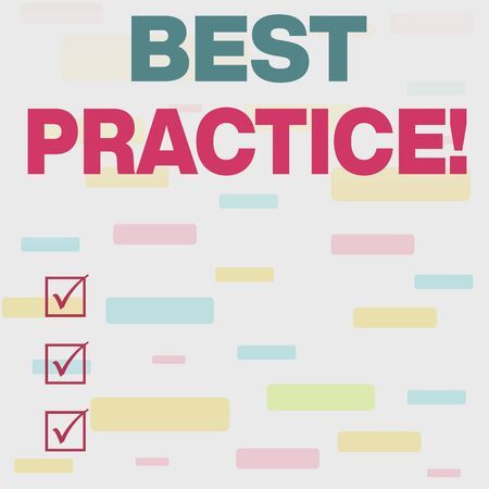 Writing note showing Best Practice. Business concept for commercial procedures accepted prescribed being correct Seamless Infinite Different Size Multicolored Tiles Long Squares