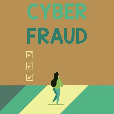Word writing text Cyber Fraud. Business photo showcasing any crime that is committed with the use of a computer Back view young long hair woman holding big blank square announcement