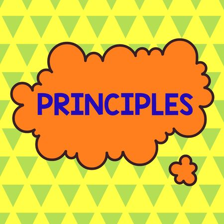 Conceptual hand writing showing Principles. Concept meaning fundamental truth that serves as the base for a system of belief Asymmetrical uneven shaped pattern object multicolour design