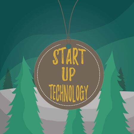 Word writing text Start Up Technology. Business photo showcasing Young Technical Company initially Funded or Financed Badge circle label string rounded empty tag colorful background small shape 스톡 콘텐츠