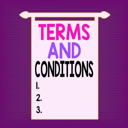 Writing note showing Terms And Conditions. Business concept for rules that apply to fulfilling a particular contract Digital Sound Wave Seamless Horizontal Modulation Line Halftone Pattern