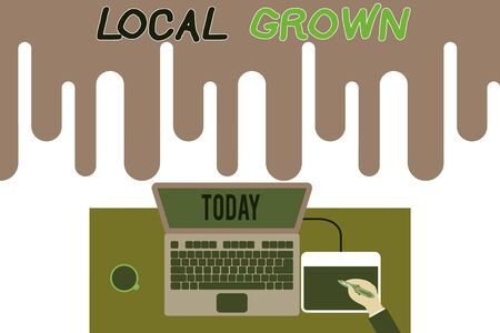 Handwriting text writing Local Grown. Conceptual photo agricultural products produced then sold within a certain area Upper view laptop wooden desk worker drawing tablet coffee cup office Banco de Imagens