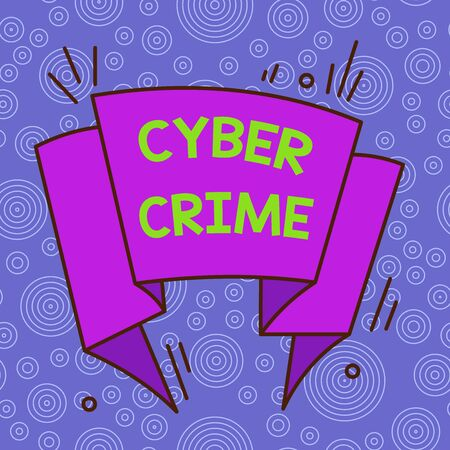 Handwriting text Cyber Crime. Conceptual photo kind of criminal activities carried out by means of Internet Asymmetrical uneven shaped format pattern object outline multicolour design