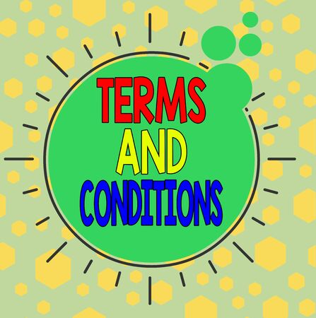 Handwriting text writing Terms And Conditions. Conceptual photo rules that apply to fulfilling a particular contract Asymmetrical uneven shaped format pattern object outline multicolour design Stock Photo