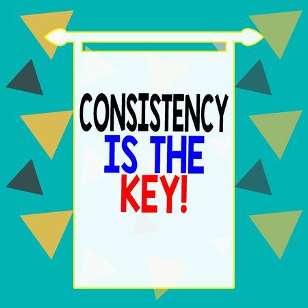 Escritura de texto Word la consistencia es la clave. Exhibición fotográfica de negocios rompiendo los malos hábitos y formando los buenos Hoja de papel de rectángulo cuadrado cargada con la creación completa del tema del patrón