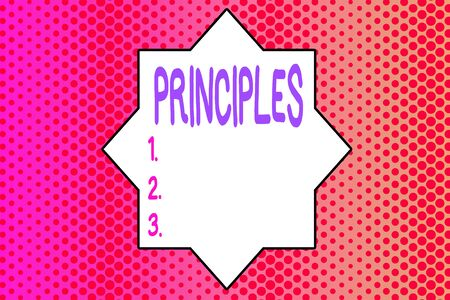 Writing note showing Principles. Business concept for fundamental truth that serves as the base for a system of belief Endless Different Sized Polka Dots in Random Repeated Mirror Reflection