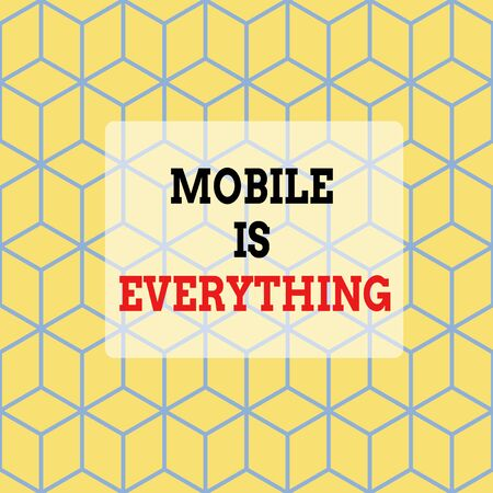 Text sign showing Mobile Is Everything. Business photo showcasing Handheld Computer Device a Planner Wallet Organizer Seamless Blue Blocks Cubes Yellow Background Depth Deepness Perspective