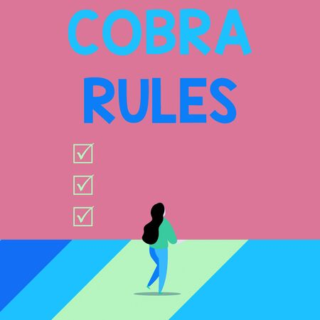 Word writing text Cobra Rules. Business photo showcasing continuing group health insurance coverage after a job loss Back view young long hair woman holding big blank square announcement