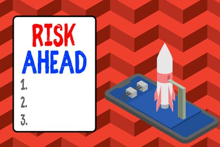 Word writing text Risk Ahead. Business photo showcasing A probability or threat of damage, injury, liability, loss Ready to launch rocket lying smartphone. Startup negotiations to begin Stock fotó