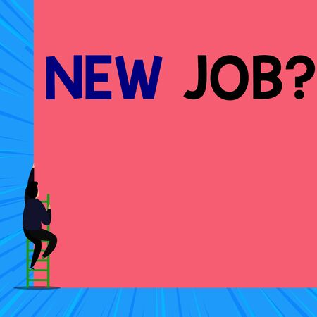 Text sign showing New Job Question. Business photo showcasing asking if a demonstrating got regular work to earn money Back view young man climbing up staircase ladder lying big blank rectangle Zdjęcie Seryjne