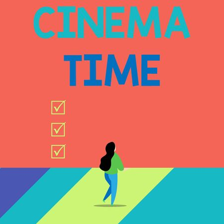 Word writing text Cinema Time. Business photo showcasing which entertainment such showing movie scheduled to start Back view young long hair woman holding big blank square announcement Stock Photo