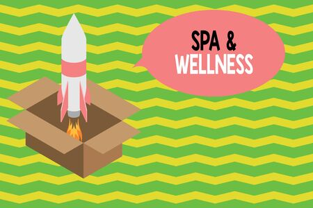 Word writing text Spa And Wellness. Business photo showcasing Place where showing go to improve their health Relaxation Fire launching rocket carton box. Starting up project. Fuel inspiration Фото со стока