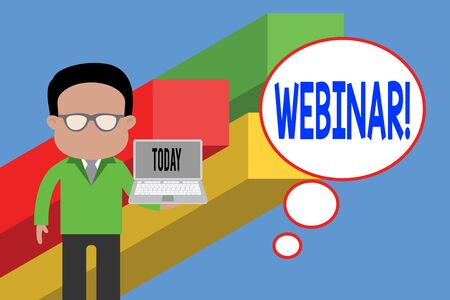 Writing note showing Webinar. Business concept for seminar or other presentation types that takes place on Internet Standing man in suit wearing eyeglasses holding open laptop photo Art